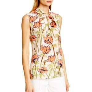 NEW! Tory Burch Floral Print Tie Neck Silk Blouse